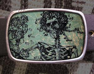 Grateful Skeleton Vintage Inspired Art Gift Belt Buckle