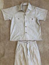 Vintage 1940s 50s Ensenada Suit Two Piece Linen Short Sleeves Wood Button Summer