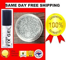 Fine Silver Pro Glitter Dust Powder Eye Shadow Face Body Nails Clear Fix Gel113