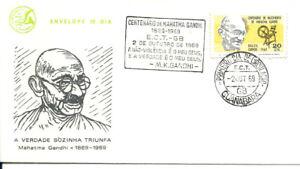 BRAZIL 1969 Mahatma GANDHI on CFB FDC