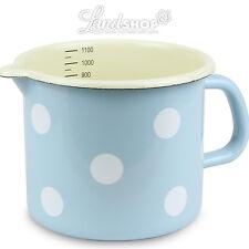 NOSTALGIE CASSEROLE à lait émail bleu clair avec blanc à pois Casserole marmite
