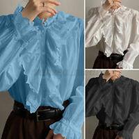 UK Women Long Sleeve Plain Ruffled Frill Shirts Tops Ladies Casual V-Neck Blouse