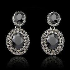 White Clear Rhinestone Round Designed Lady Women Wedding Earrings Jewelry Dress