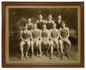 DEMOLAY CLC CONCORD NH 1926-27 FRATERNAL YOUTH BASKETBALL SEPIA TONED FRMD PHOTO