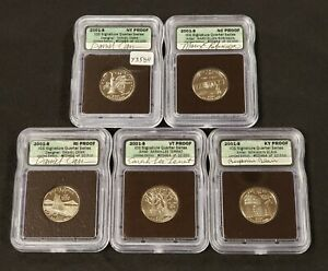 2001-S 25c US State Quarter 5 coin Proof Set - Hand Signed Labels - ICG - Y3584