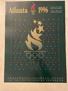 "1996 Atlanta OLYMPIC POSTER1896-1996 Games of the XXVI Olympiad 18"" x 24"" Exc"