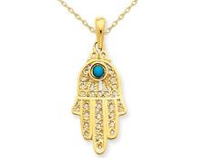 Hamsa Pendant in 14K Yellow Gold W Chain