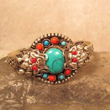 Tibetan Turquoise Gemstone Magical Carved Double Dragon Cuff Bracelet