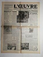 N501 La Une Du Journal L'œuvre 22 avril décembre 1943 Hippolyte taine