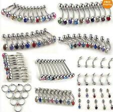 10 Piece GEM TOP Stainless Steel Barbell Belly Lip Nipple Ring Body Piercing UK