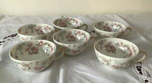 Set 6 Haviland & Co  Limoges Tea Cups - France Pink Blue