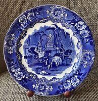 "Antique George Jones Spanish Festivities 9 1/4"" Blue Plate c 1920s"