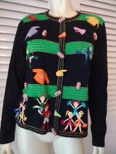 JACK B. QUICK Sweater M Cotton Blend Cheerleader Go Team Cardigan Appliques HOT!