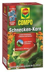 Schneckenkorn Schnecken Bekämpfung Compo 4 x 250 g = 1 kg Packung