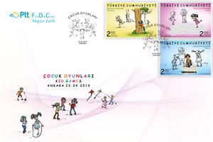 TURKEY 2019 (FDC) - KID GAMES, CHILDREN, CHILD, GAME, KITE, TREE, Mi: #4487/4489