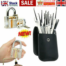 19PCS Unlocking Lock Pick Set Key Extractor Transparent Practice Padlocks USA