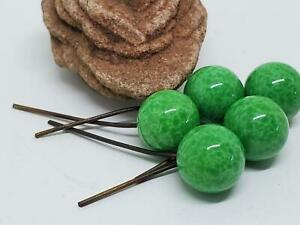 Rare Vintage Green PEKING Glass BEADS Embedded Wire Bail DROPS DANGLES NOS