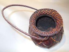 Vintage Hand Woven Gourd Basket w/Handle Rare