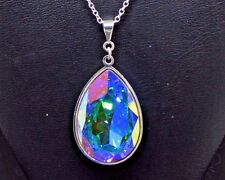 Pear-Cut Teardrop Crystal Pendant made with Swarovski in AB Aurora Borealis