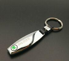 New SK0DA Car Logo Emblem Keychain Keyring Fob Zinc Alloy Metal Leather Silver