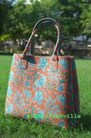 Indian Mandala Tote Bag Block Printed Handbag Cotton Women Satchel Purse Lady