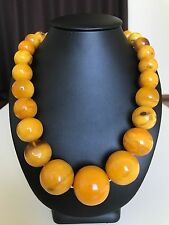 Old, yellow color Baltic Amber necklace/beads  (177.4 g.) 195E