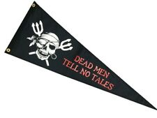 """Pirate DEAD MEN TELL NO TALES 12"""" x 36"""" Two Sided Polyester Pennant Home Boat"""