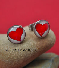 Love Heart Stud Earrings - Stainless Steel - Ladies Girls Gift, In a Gift Bag