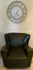 ART DECO ORIGINAL LEATHER FAN BACK CHAIR BOTTLE GREEN CHESTERFIELD STUNNING