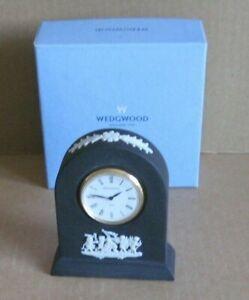 Wedgwood Jasperware Black Small Dome Clock Boxed