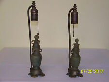 Pair-Chinese Qing Dy c1800's Hetian Jade Hand Carved Lamps/Vases Bronze
