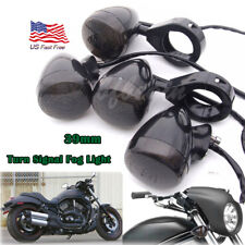 4x 39mm Front & Back Turn Signal Blinker Fog Light Fork Clamp For Harley Dyna