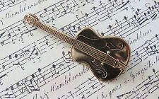 Acoustic Guitar Pin 24 Karat Gold Plate Rock & Roll Band Music Country & Western