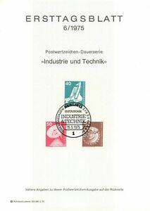 Germany ETB Ersttagsblatt 6/1975 Industry and Technology BERLIN 12