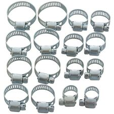 16pc Set Jubilee Clips Hose Pipe Clamps 13mm - 32mm New Garage Plumbing - Amtech