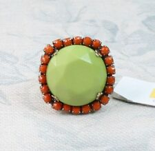 BOHM Adjustable RING Paste Jewels Gold Lime Red/Orange Vintage 1960s Tiki BNWT