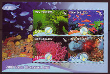 NEW ZEALAND 2008 UNDERWATER REEFS MINIATURE SHEET UNMOUNTED MINT, MNH