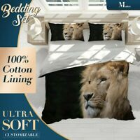 Lion Wild Animal Brown Quilt Cover Single Bed Double Queen King Size