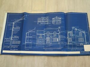 Architectural Blueprint House Drawing 1948 Vintage  Raised seal Original