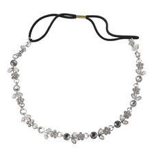 Women Rhinestone Crystal Flower Hair Band / Elastic Headband-Silver R2I4 Q6K2
