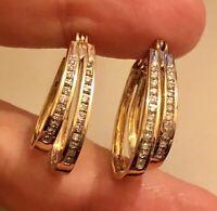 Vintage 9ct Yellow Gold Diamond Hoop Earrings 0.50ct Large Double Hoop