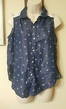 Seventeen Womens S Sleeveless Button Up Shirt Blue With White Hearts Lace