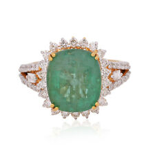 5.5 Ct Oval Shape Emerald Gemstone Cocktail Ring Diamond 18k Yellow Gold Jewelry