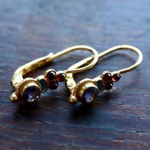 Iris Iolite and Garnet Earrings: Museum of Jewelry