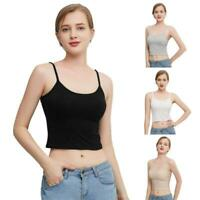 Women Short Cropped Tank Top Spaghetti Strap Camisole Padded Slim Vest Sport Bra