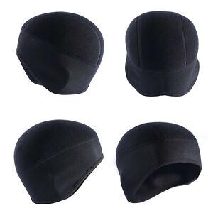 Warm Black Polar Fleece Beanie Cycling Head Warmer Hat Cap Under Helmet Liner
