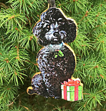 Black Poodle Ornament Handcrafted Wood Jeweled Collar Dog Lover's Walker Gift