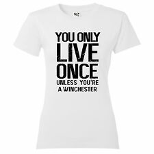 """Womens """"YOLO"""" syfy demon hunters winchester brothers supernatural T Shirt"""