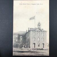 RPPC 1907 Fifth Street School Niagara Falls, NY Postcard Real Photo Picture Flag