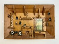 Vtg Folk Art Carved Wood 3D Diorama Shadow Box Rustic Cabin/Cottage Wall Hanging